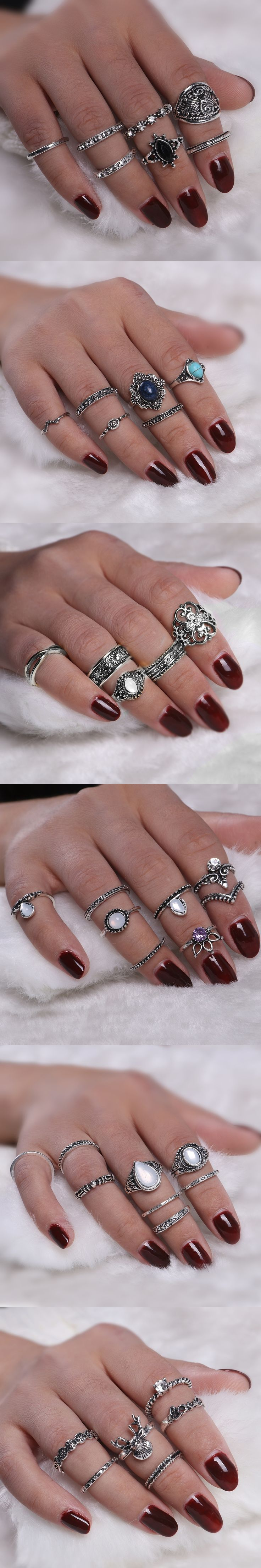 2017 Vintage Anel Feminino Rings For Women Silver Color Boho Chic Elephant Midi Knuckle Rings Set Punk Fashion Jewelry