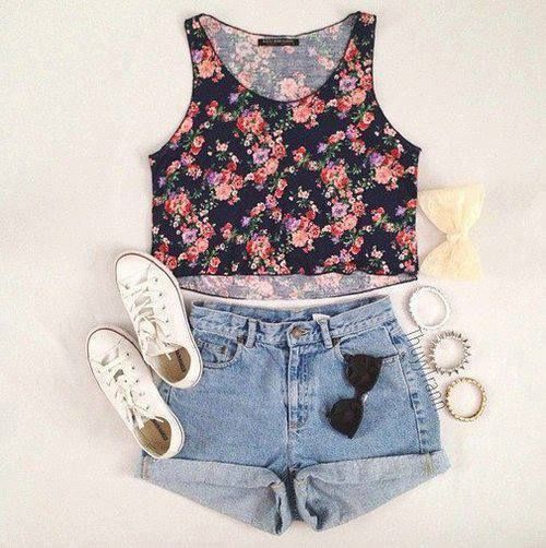 18 best Crop tops and high waisted shorts images on Pinterest