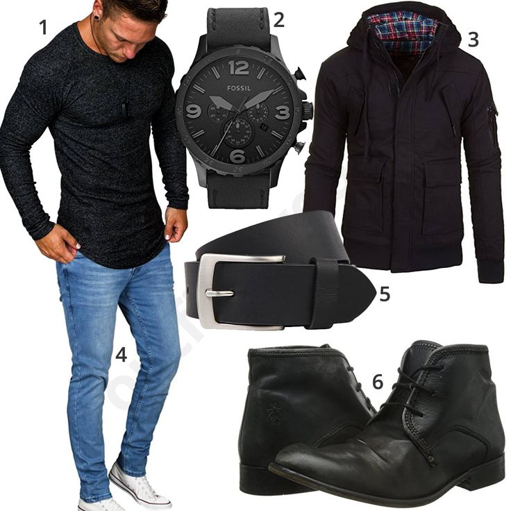 Cooler Herren-Style mit Longsleeve, Jacke und Jeans (m0924) #schwarz #longsleeve #boots #fossil #uhr #outfit #style #herrenmode #männermode #fashion #menswear #herren #männer #mode #menstyle #mensfashion #menswear #inspiration #cloth #ootd #herrenoutfit #männeroutfit