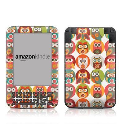 Kindle Keyboard Skin Owls Family  by Valentina Ramos