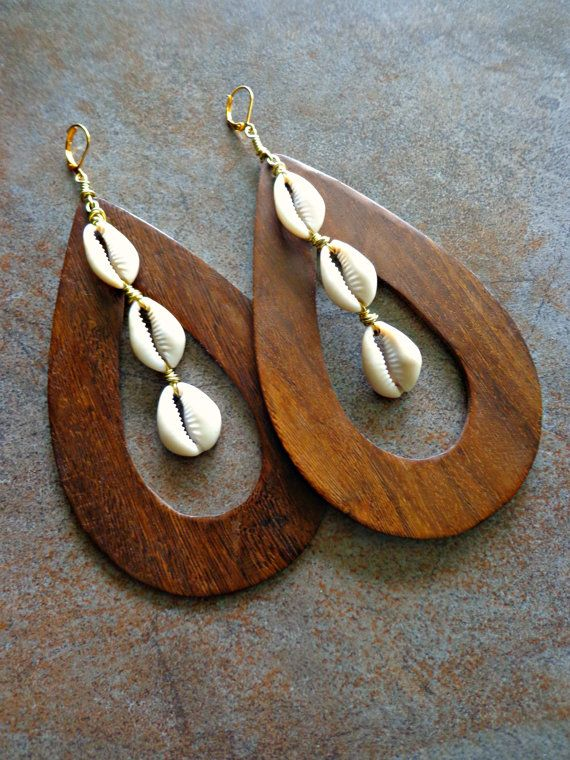 Large Wooden Hoop Cowrie Shell Earrings by Khepera Adornments