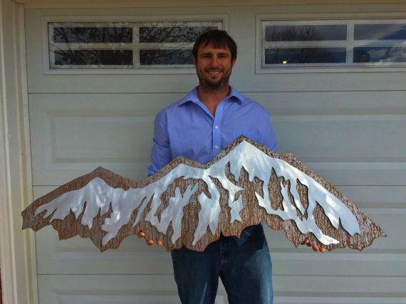 Mountain wall art. Metal Mountain made by BearMountainMetalArt