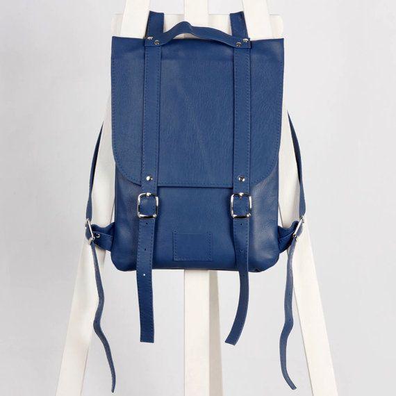 Blue/navy leather backpack rucksack / To order / blue Leather genuine leather minimalist backpackrucksackkokosinasimple backpackknapsackback to school leather rucksack women woman girls gift