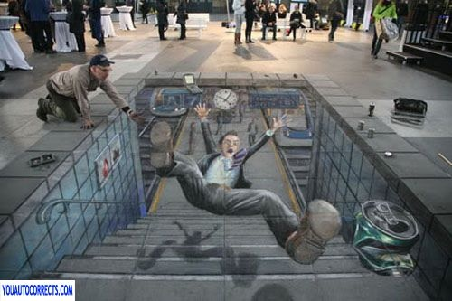 Imagine walking and seeing something like this?  Wonder if you'd have a sensation of falling down with him?Street Artists, 3D Street Art, Chalkart, Sidewalk Art, Chalk Drawing, Sidewalkchalk, Sidewalk Chalk Art, Art Painting, Streetart
