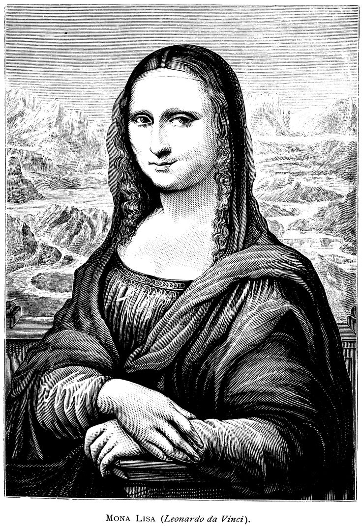 137 best art mona lisa black white images on pinterest for Mona lisa coloring pages