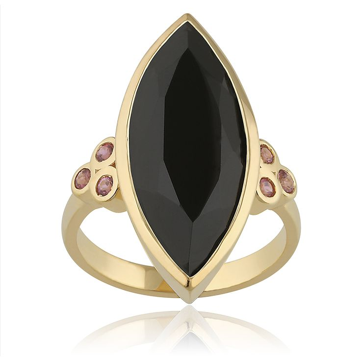 Kveta Ring. Glossy 14 karat yellow gold with 1 faceted black onyx - 6.50 carat and 6 faceted pink tourmaline - 0.18 carat.