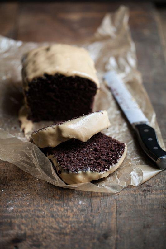 chocolate cake with peanut butter glaze.