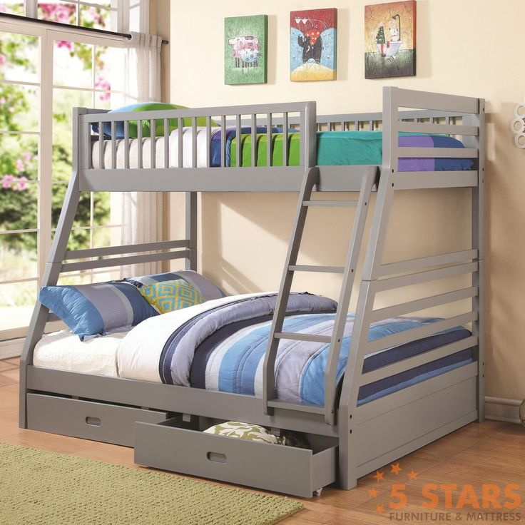 Give your child a comfortable, enjoyable, and functional bedroom space with this Twin-over-Full Bunk Bed. This piece includes an attached ladder and safety rails on the top bunk, so your child will sl