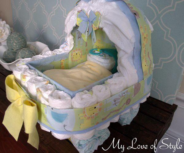 diy bassinet diaper cake2 DIY Bassinet Diaper Cake Tutorial