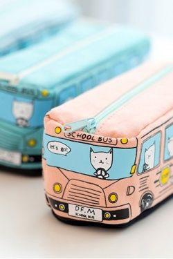 Kawaii Fabric Pen Pencil Pouch - Cat Bus