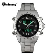 INFANTRY Mens Watches LCD Digital Quartz Aviator Watches Airforce Silver Full Steel Watches Male Clock Relogio Masculino 2016(Hong Kong)