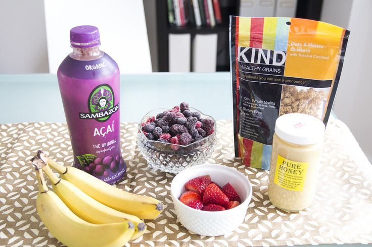 How To Make An Acai Bowl (via @Jen Lula-Richardson) 1. Granola (try to find one that has no more than 5g of sugar- this one has 6g. Shhh don't tell). 2. Organic acai Juice 3. Honey 4. Fresh berries 5. Frozen blueberries, raspberries, blackberries 6. Banana (freeze some for a thicker consistency) 8. Shaved Coconut (I didn't have any this time) 9. Chia Seeds
