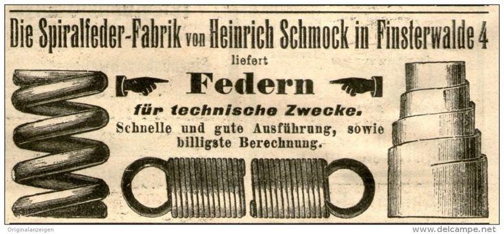 Original-Werbung/ Anzeige 1906 - FEDERN / SPIRALFEDER - FABRIK SCHMOCK - FINSTERWALDE - ca. 100 x 45 mm