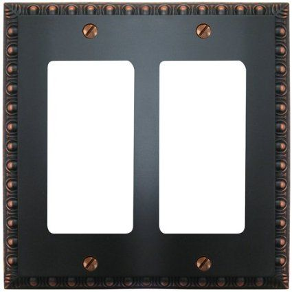 amerelle renaissance cast metal double gfi rocker switch wall plate aged bronze by amerelle