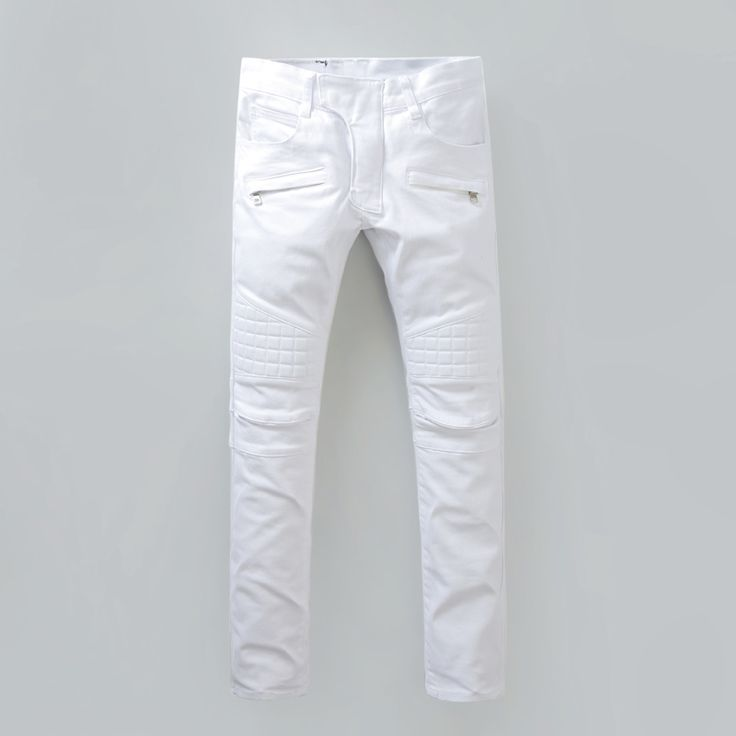 >> Click to Buy <<  Hot Sale Pure White Jeans Men High Quality Biker Jeans New Designer Fashion Denim Overalls Brand Clothing Slim Fit Casual Pants #Affiliate