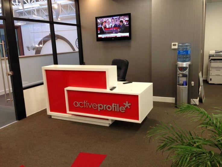 Branded Foro reception desk for PR company in Liverpool.