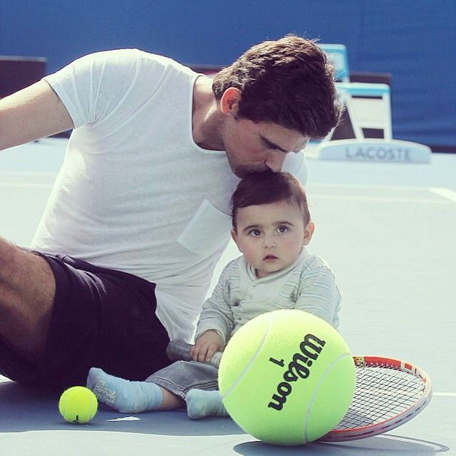 Mark Philippoussis with baby Nicholas wearing the Limerick striped polo from our Rolling Hills collection! Via Instagram Silvana Lovin Philippoussis @sphilippoussis
