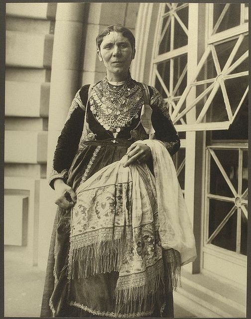 a woman from Salamina island Greece, immigrant to the United States, dressed with her local tradional costume, June 1909