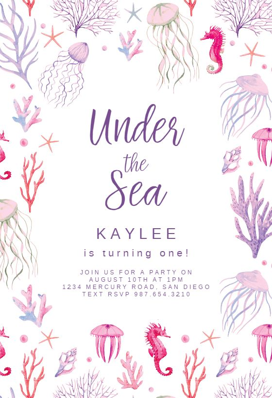 297 best birthday invitation templates images on pinterest under the sea invitation template customize add text and photos print download stopboris Gallery