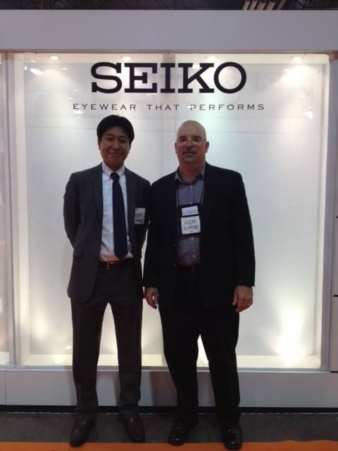 SEIKO Optical Products of America, President, Aki Sukegawa and Senior Vice President, Michael J. Rybacki meeting attendees at Vision Expo West 2013.