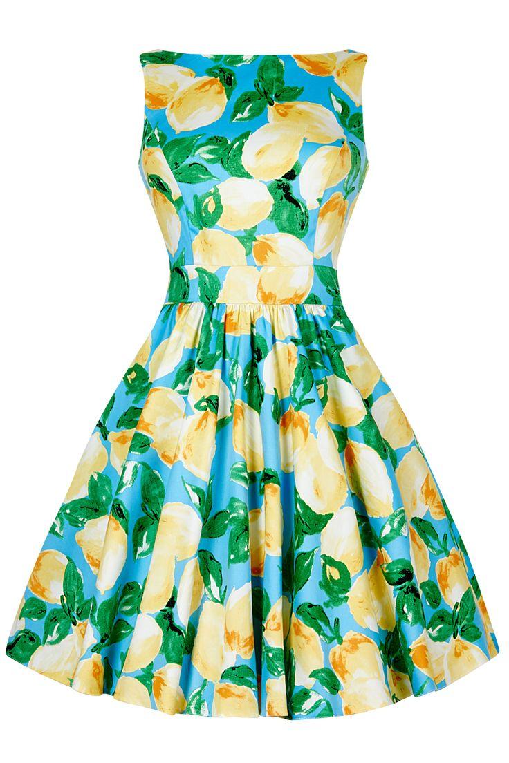 Lemon Print Tea Dress : Lady Vintage