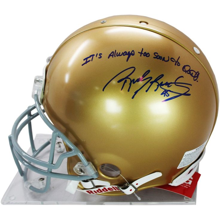 Rudy Ruettiger Signed Authentic Notre Dame Full Size Helmet w Its Always Too Soon to Quit insc - Rudy Ruettiger personally hand-signed this Notre Dame authentic full-size helmet and inscribed it Its Always Too Soon to Quit. An undersized kid with over-sized dreams Rudy repeatedly was told he was too small to play football. While at Notre Dame Ruettiger was part of the scout team and on the last play of the final game of his senior year Rudy finally was put in. Ruettiger made the most of it…
