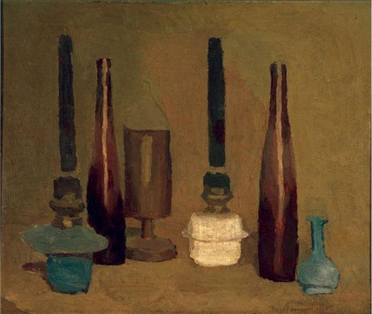 blastedheath:  Giorgio Morandi (Italian, 1890-1964),Natura morta, 1939 . Oil on canvas, 44 x 51.4cm. Museu de Arte Contemporânea da Universidade de São Paulo. viaalongtimealone