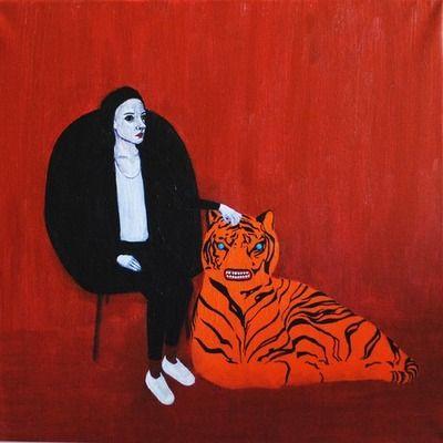 Zita Csordás: Önarckép tigrissel. (2013; akril, vászon, csillámragasztó; 40x40) zitacsordas.tumblr.com