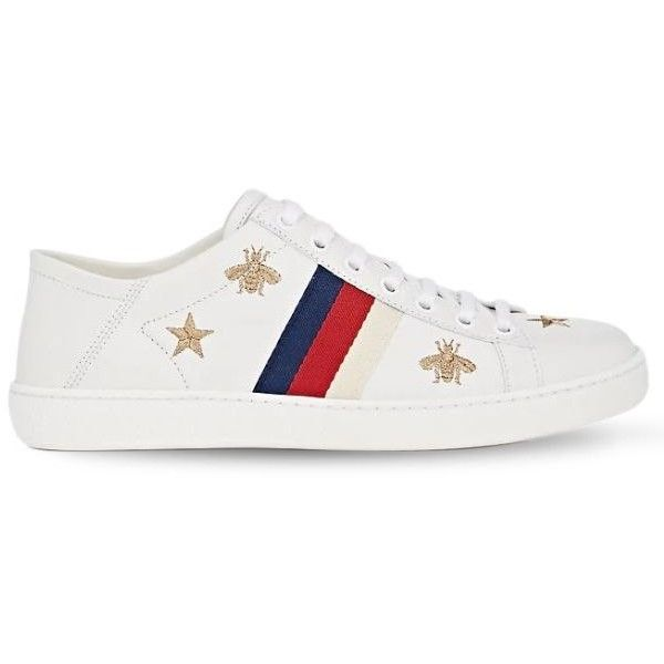Gucci Women New Ace Embroidery Leather Mule Sneakers ($620) ❤ liked on Polyvore featuring shoes, sneakers, foldable shoes, star shoes, gucci mules, mule sneakers and leather shoes