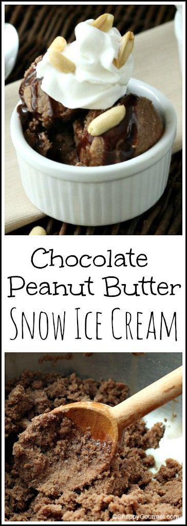 Chocolate Peanut Butter Snow Ice Cream recipe | Easy DIY frozen dessert with snow! SnappyGourmet.com