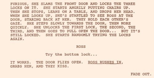 Script from the best kiss scene ever seen on tv.