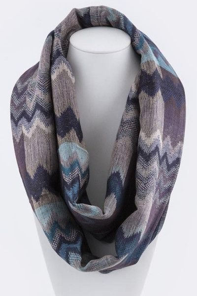 Ombre Chevron Infinity Scarf - Blue