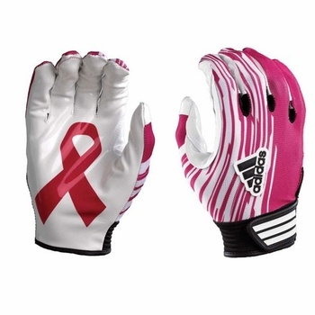 Pink football gloves - Adidas adiZero Youth Football Receiver Gloves - $26.95