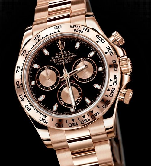 Rolex Cosmograph Daytona, Ref#116505.  Rose gold, black face, 'Nuff said.  $30000.00