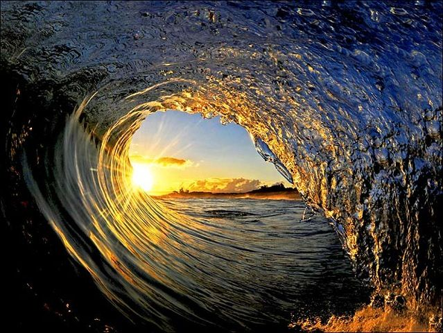 Beautiful view from inside a wave!