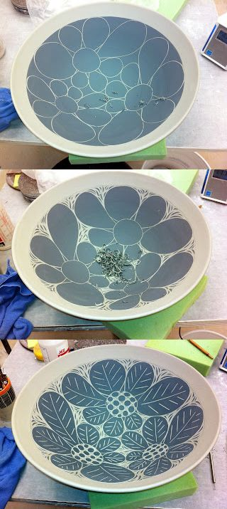 nice image of scrafitto bowl in progress