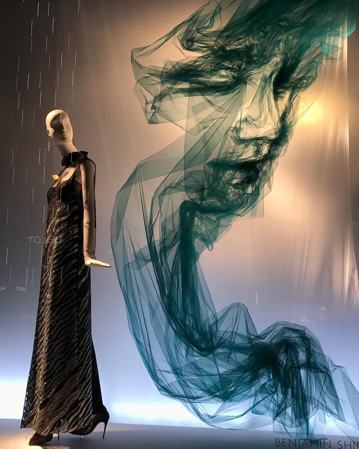 """BERGDORF GOODMAN, 5th Avenue, New York, """"Listening  to tourists stopping in awe taking photos..."""", (The Tulle Project by Benjamin Shine Project), pinned by Ton van der Veer"""