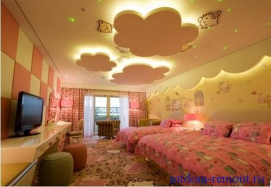 Потолок в детской комнате. Фото.