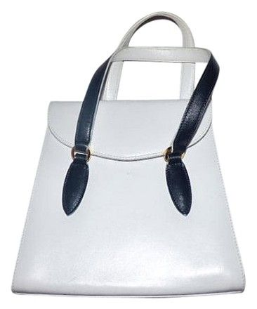 2ed4102113e4 Salvatore Ferragamo Leather Navy Black Accents 1960 s Mod Satchel in White  and Midnight Blue