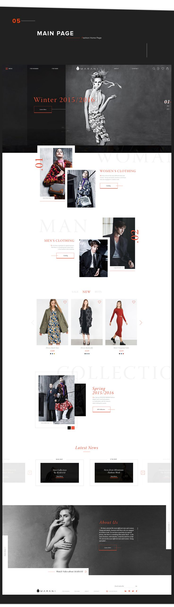 MARANI - Online fashion store. It is famous fashion brand from Ukraine.MARANI makes female clothes of different fabrics of high quality.The main task was - Design fashion e-commerce website with WOW effect.We started from logotype - mind maping - pr…