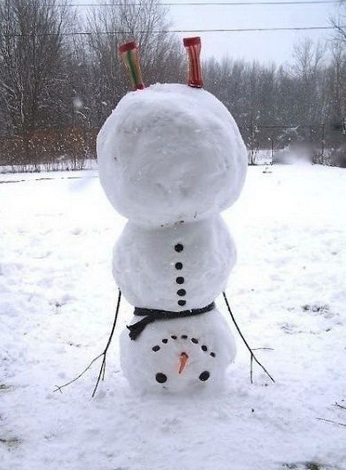 Handstand | Community Post: 40 Creative Snowmen and Other Snow Sculptures