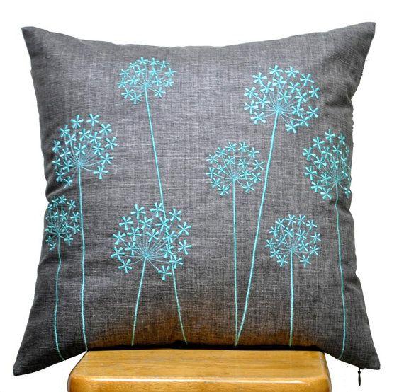Handmade Grey Linen Pillow Cover With Blue Queen Ann