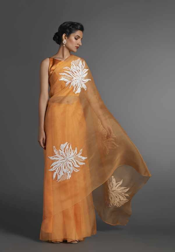 ORGANZA SAREE WITH WHITE MOTIVE PLACEMENTS