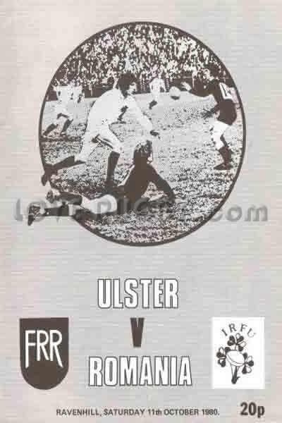 #rugby today 11/10 in 1980 : Ulster 15-15 Romania - tour rugby programme
