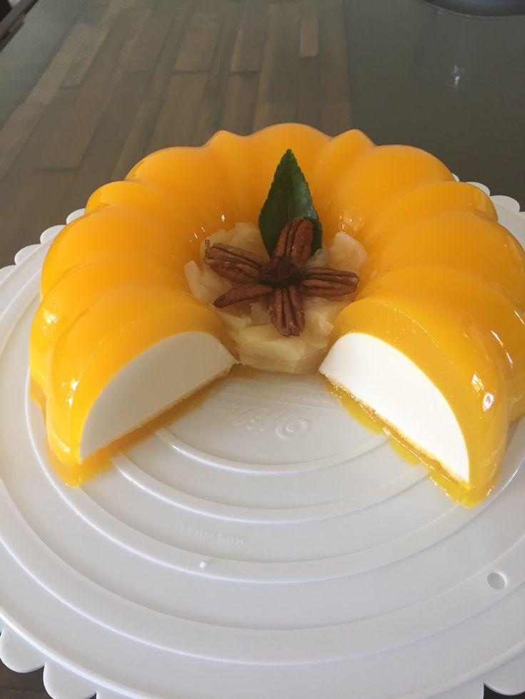 Flotatina gelatina de queso crema con mango
