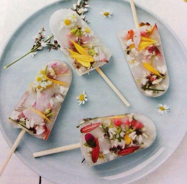 Edible flowers with elderflower  liquor Popsicles