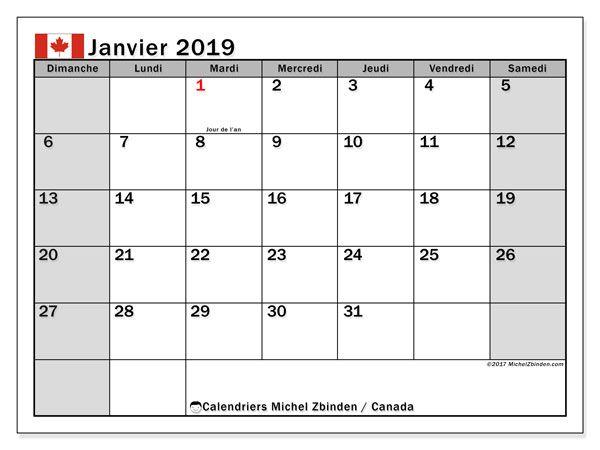 Calendrier A Imprimer Janvier 2019.Calendrier Janvier 2019 Canada Calendrier Avril
