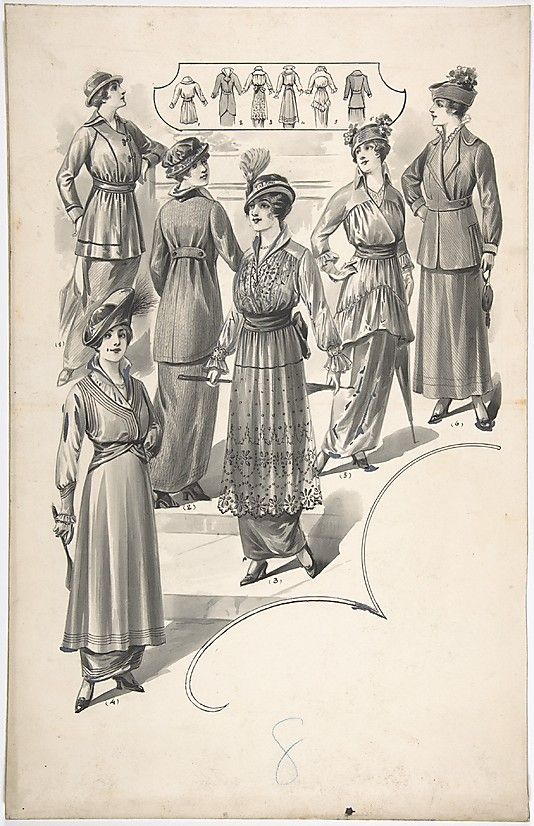 Designs for Six Women's Dresses