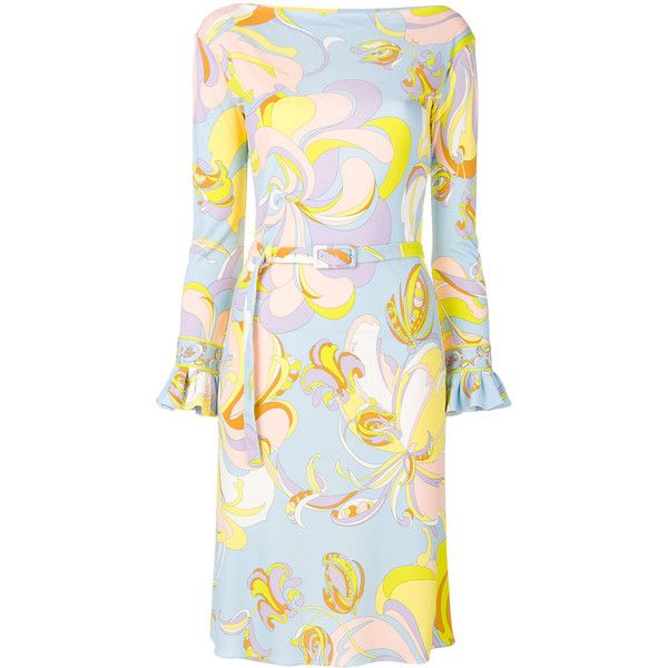 Emilio Pucci printed fitted dress ($1,240) ❤ liked on Polyvore featuring dresses, blue, blue long sleeve dress, short fitted dresses, colorful dresses, multi coloured dress and tight long sleeve dress