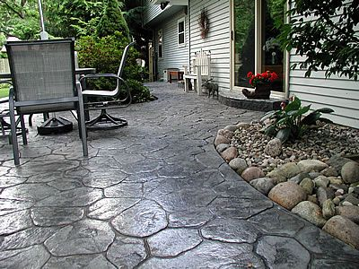 grey stamped concrete